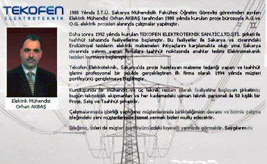 Tekofen Elektroteknik Firma Sahibi Orhan Akbas İle Soylesi