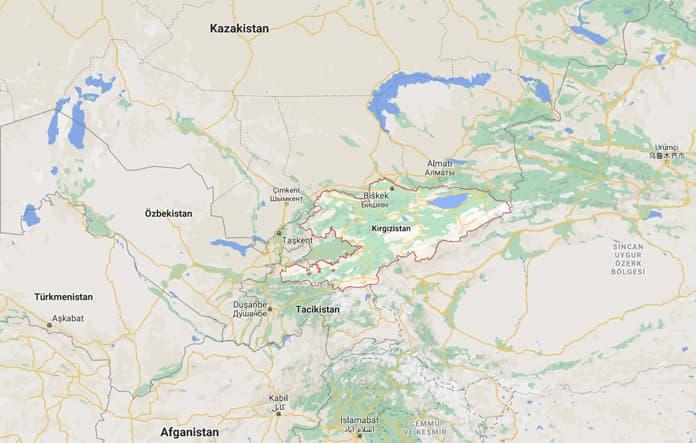 Kirgizistan-Dunya-Haritasi