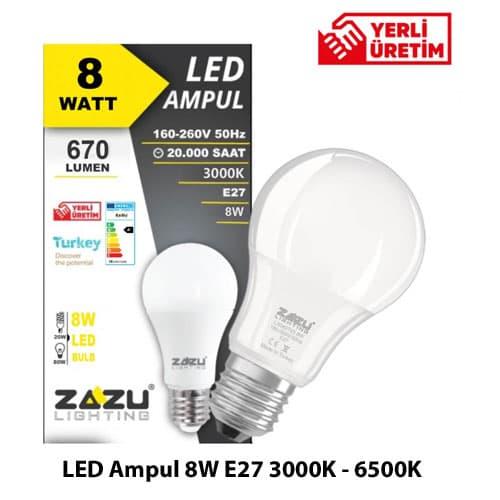Led-Ampul-8W-E27-3000K-6500K