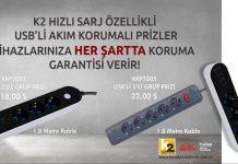 USB'li akım korumalı priz